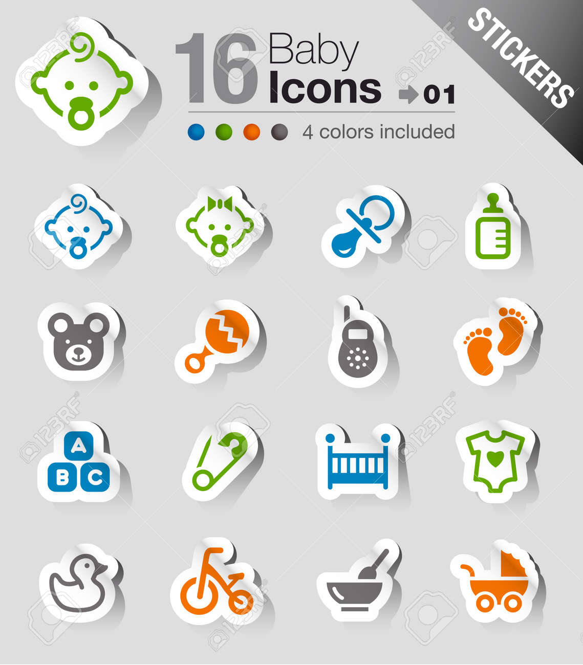 Stickers - Baby icons Stock Vector - 17991119