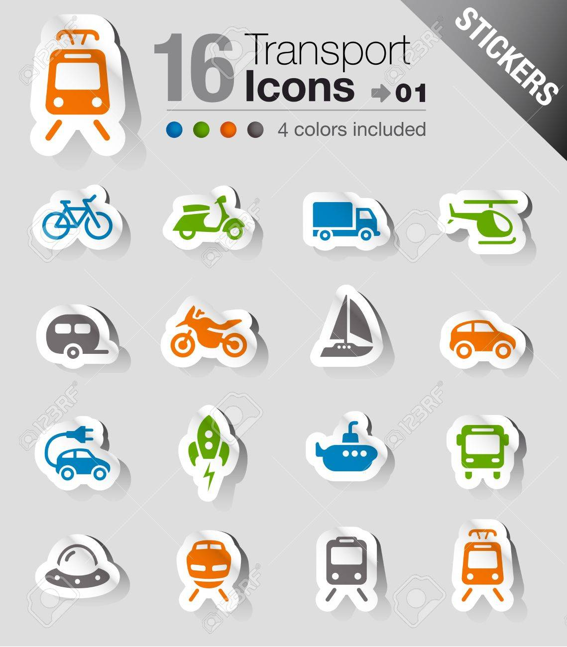 Stickers - Transportation icons Stock Vector - 17989672
