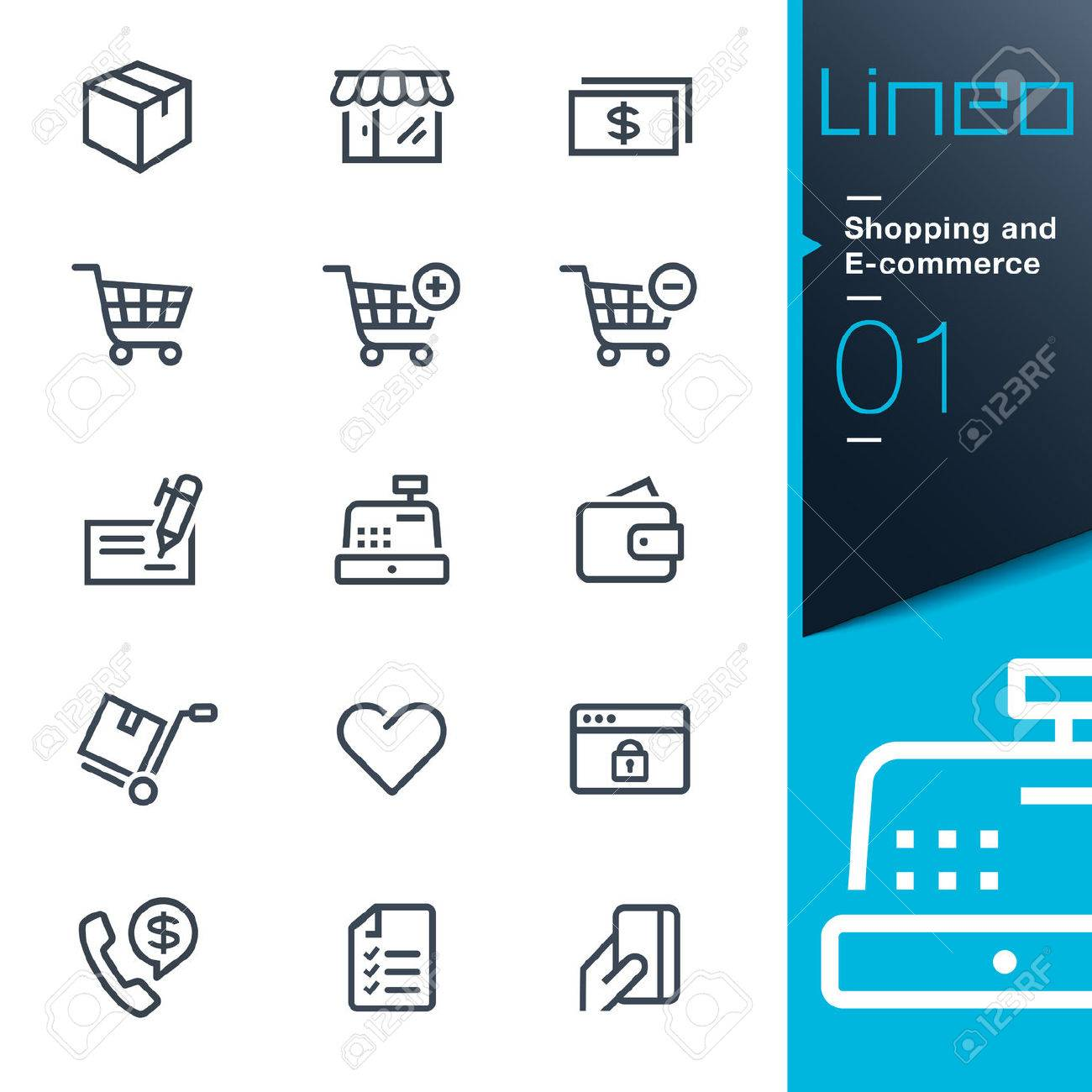 Lineo - Shopping and E-commerce outline icons Stock Vector - 26036793