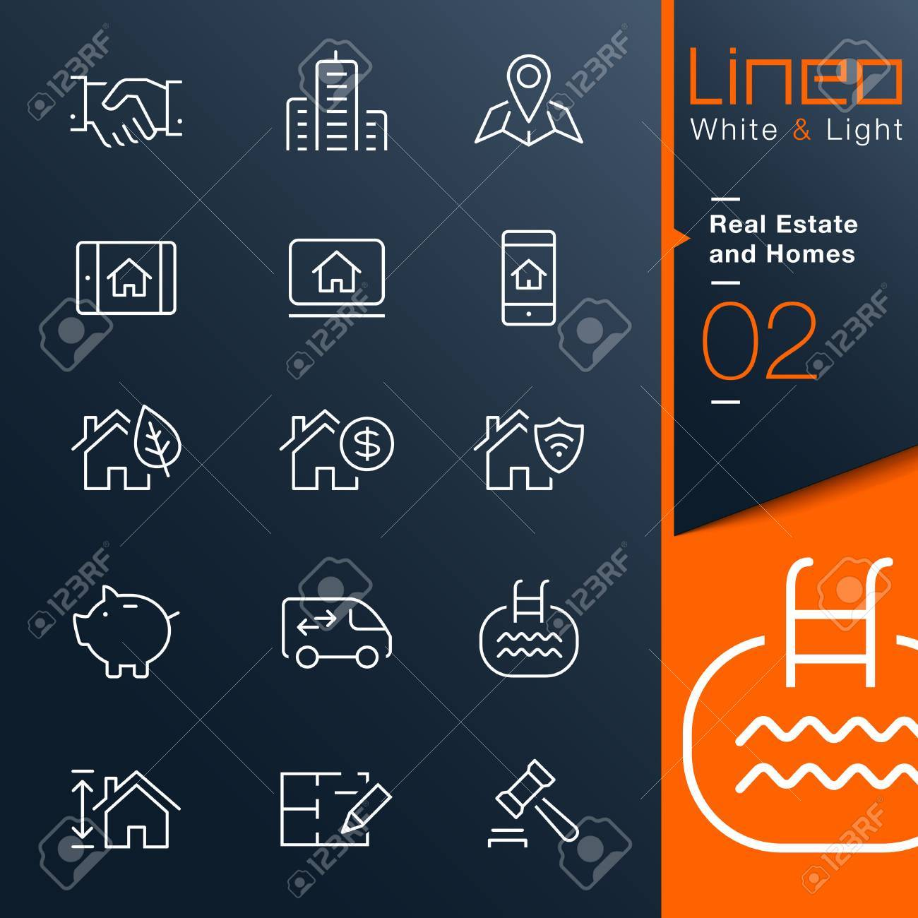 Lineo White   Light - Real Estate and Homes outline icons Stock Vector - 27440116