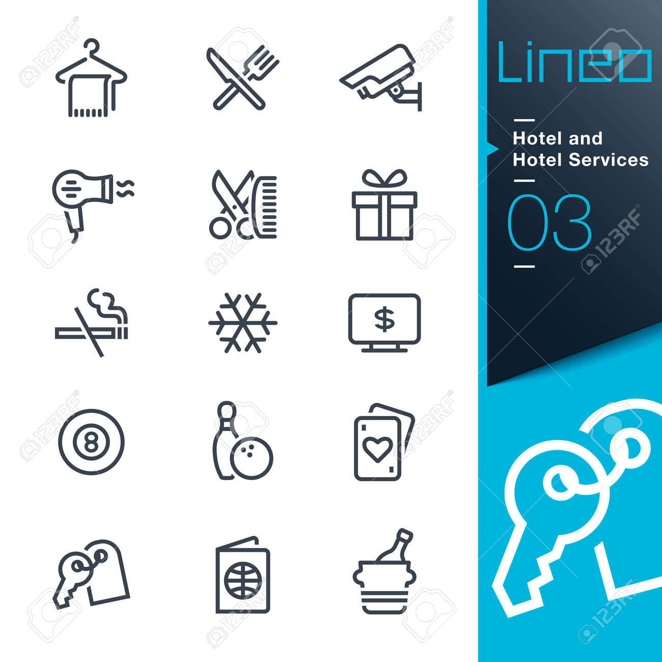 Lineo - Hotel and Hotel Services outline icons Banque d'images - 27483554