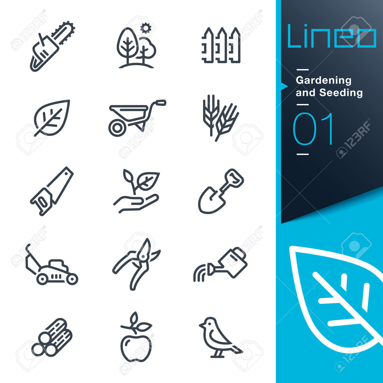 Lineo - Gardening and Seeding line icons - 66552190