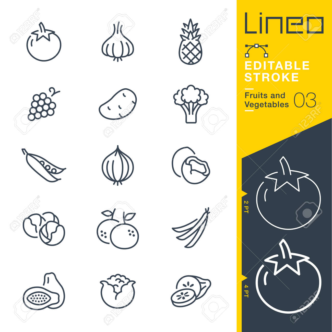 Lineo Editable Stroke - Fruits and Vegetables line Vector icons - Adjust stroke weight - Change to any color - 79734018