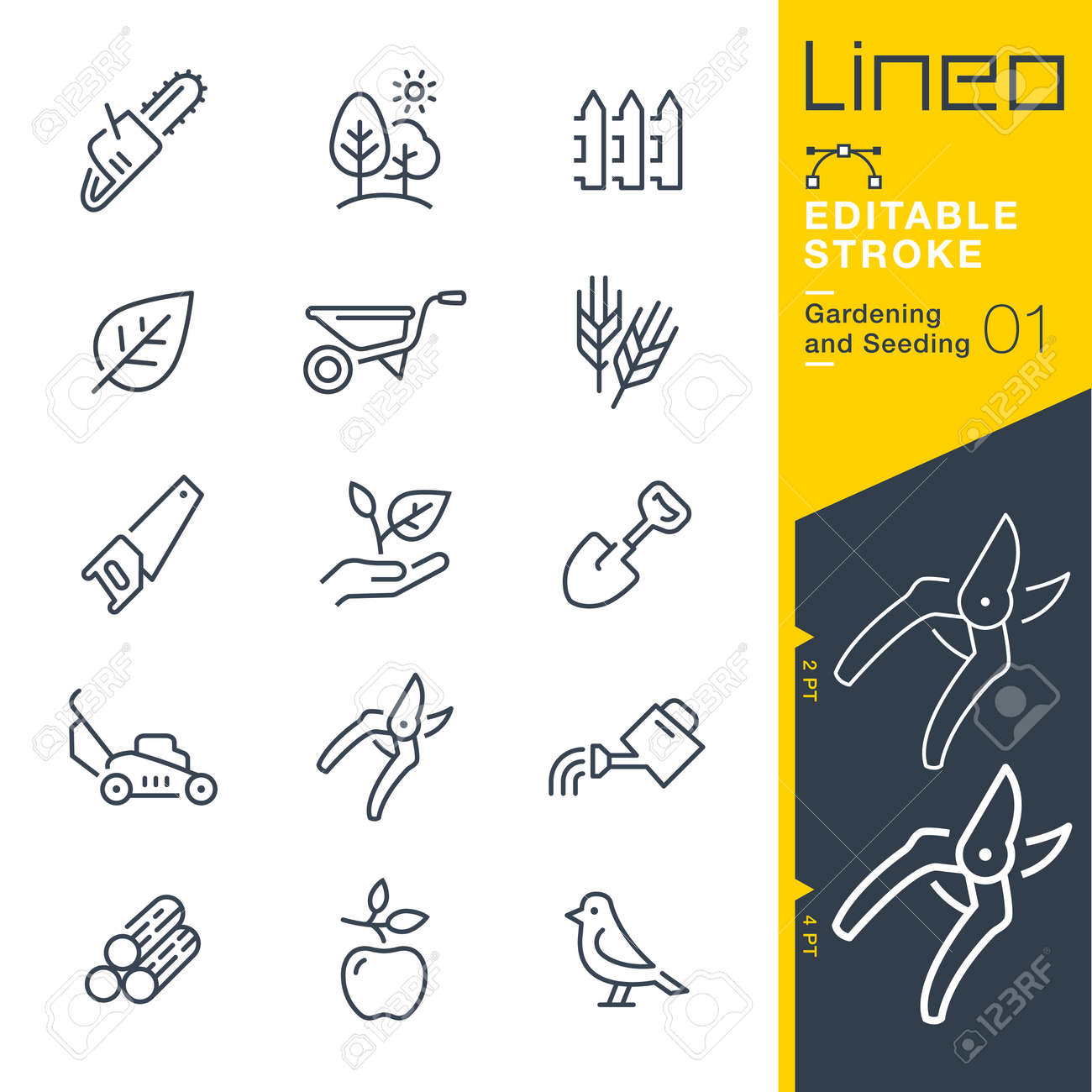 Lineo Editable Stroke - Gardening and Seeding line Vector icons - Adjust stroke weight - Change to any color - 79734019