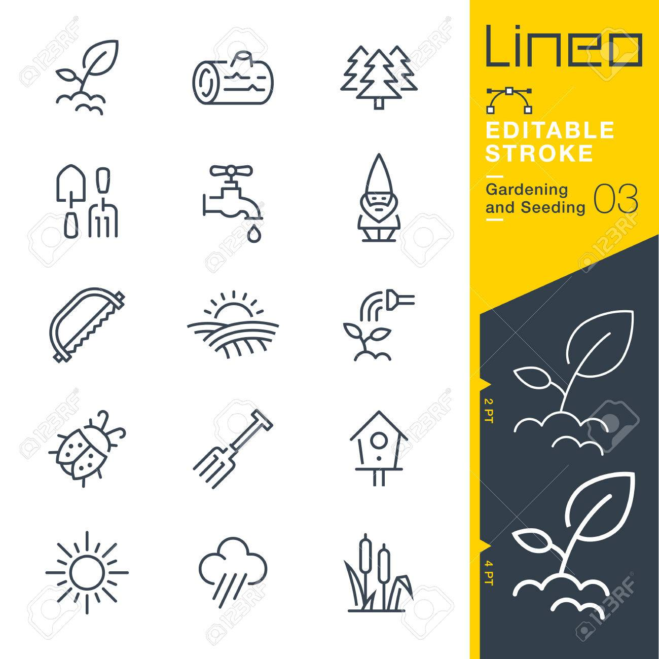 Lineo Editable Stroke - Gardening and Seeding line Vector icons - Adjust stroke weight - Change to any color - 79734020