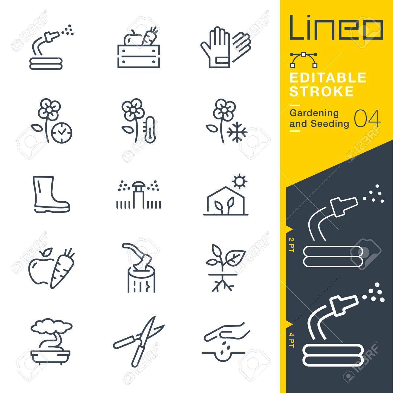 Lineo Editable Stroke - Gardening and Seeding line Vector icons - Adjust stroke weight - Change to any color - 79734021