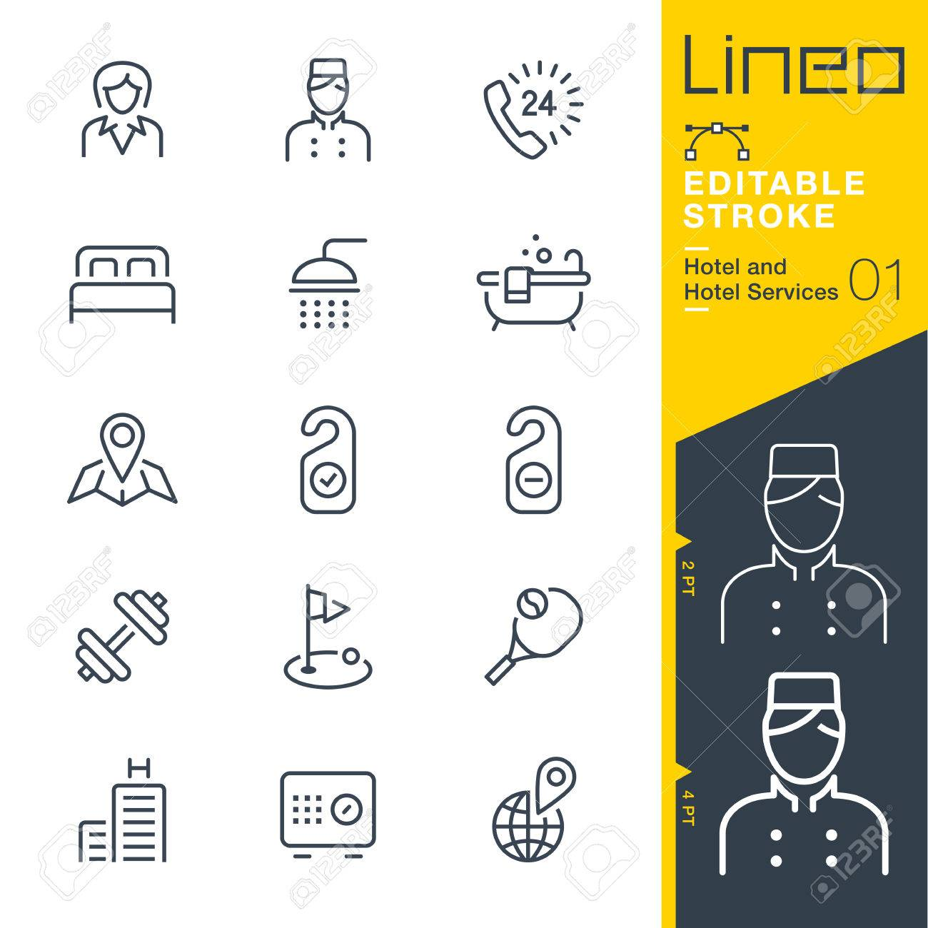 Lineo Editable Stroke - Hotel line icon Vector Icons - Adjust stroke weight - Change to any color - 80270258