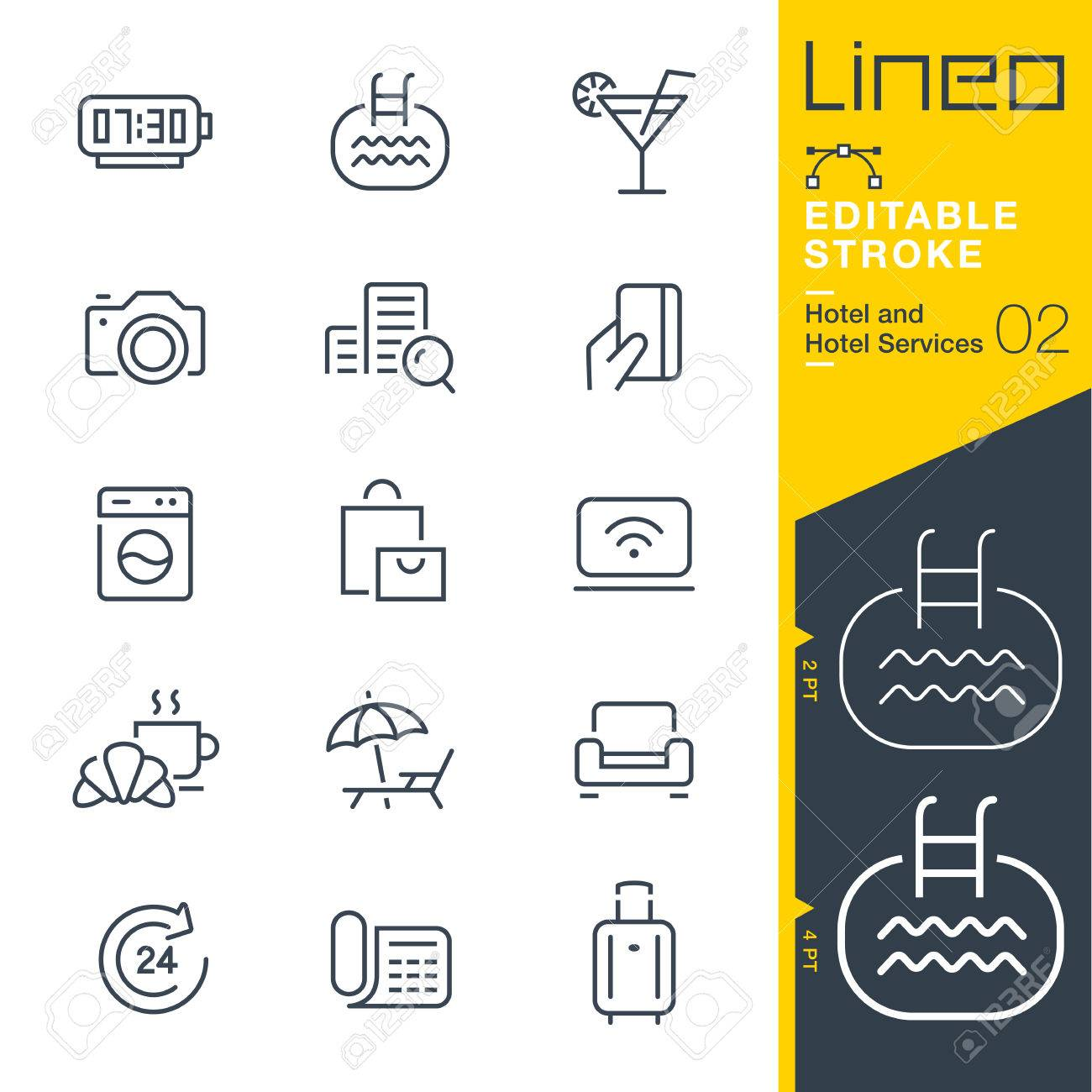 Lineo Editable Stroke - Hotel line icon Vector Icons - Adjust stroke weight - Change to any color - 80270255