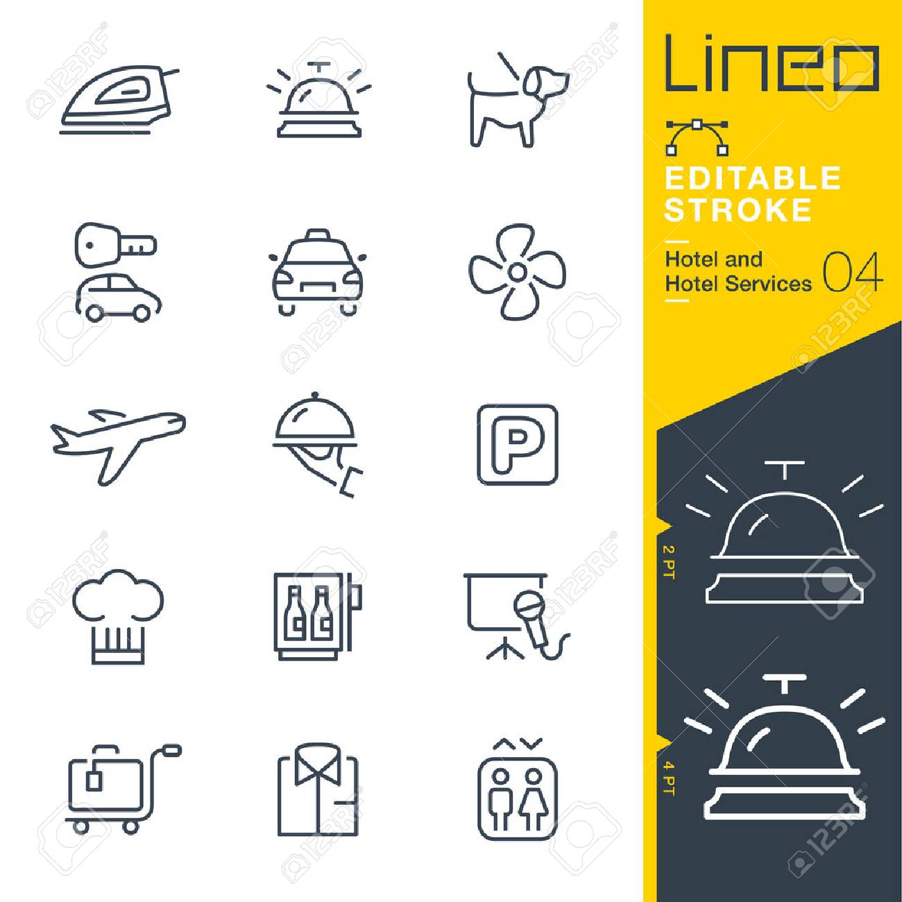 Lineo Editable Stroke - Hotel line icon Vector Icons - Adjust stroke weight - Change to any color - 80270262