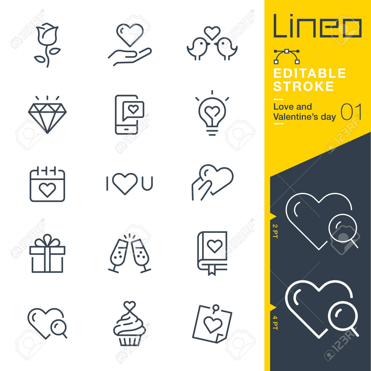 Line Editable Stroke - Love and Valentines day icon - 83785839