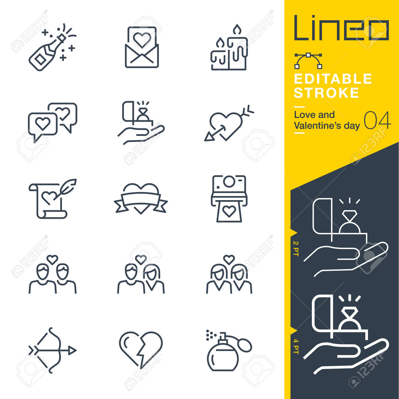 Lineo Editable Stroke - Love and Valentine? ? ? s day line icon Icons - Adjust stroke weight - Change to any color - 84275916