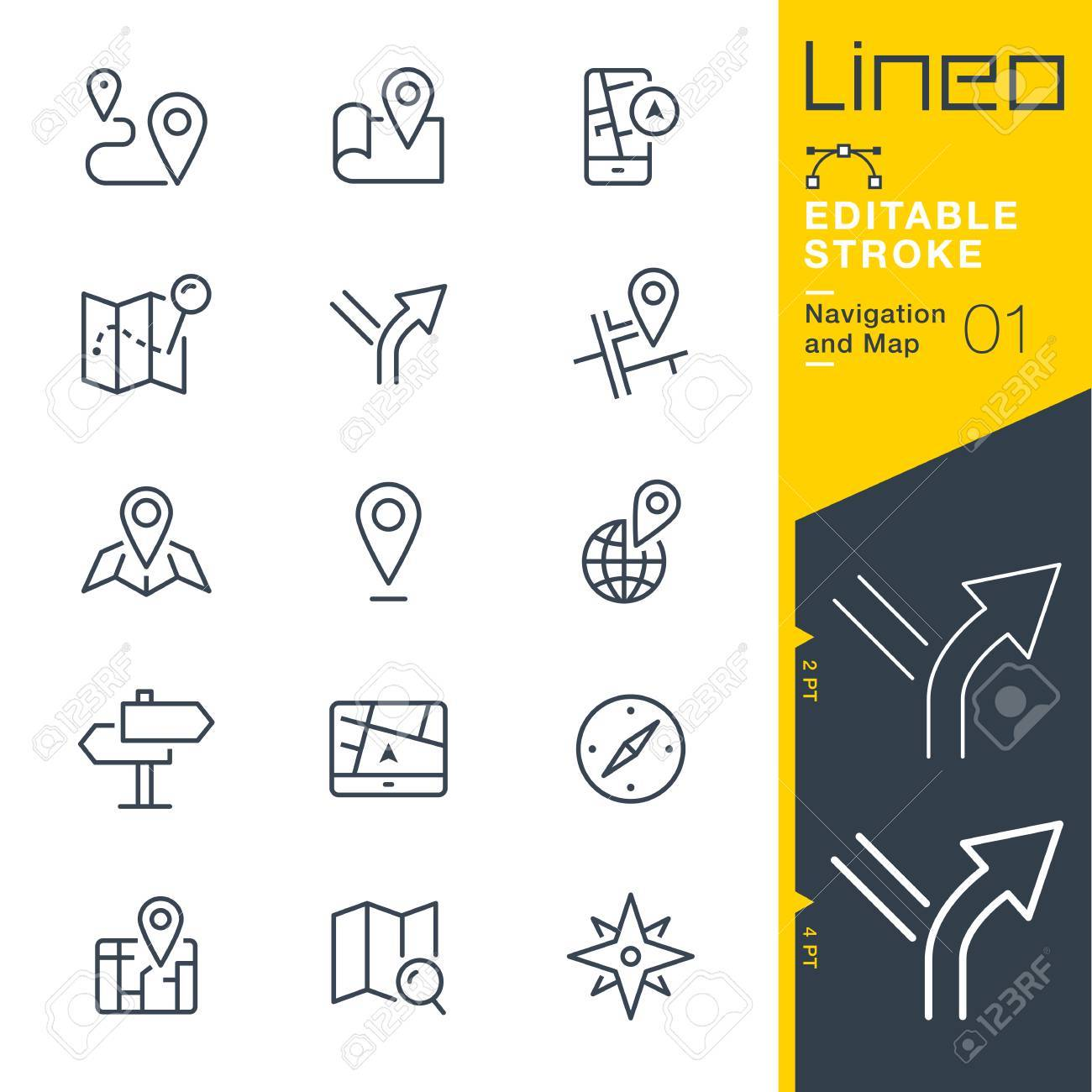 Lineo Editable Stroke - Navigation and Map line icon Vector Icons - Adjust stroke weight - Change to any color - 85190490