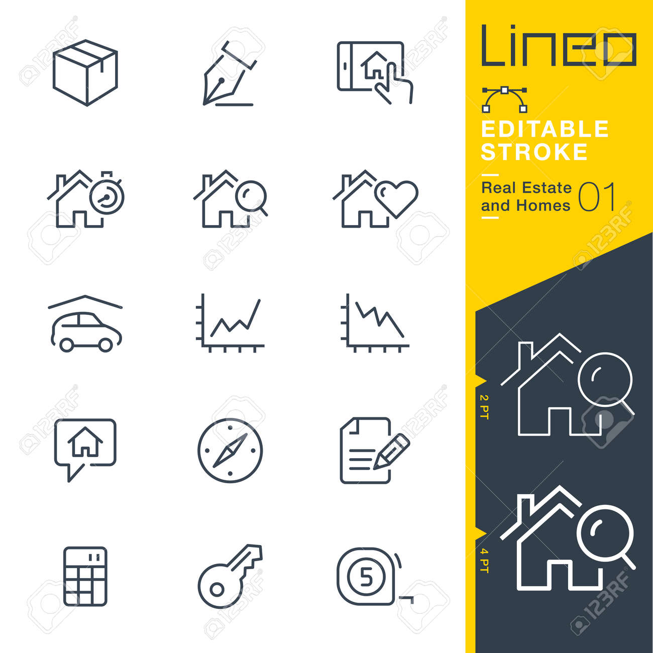 Lineo Editable Stroke - Real Estate and Homes line icons. Vector Icons - Adjust stroke weight - Expand to any size - 85427061
