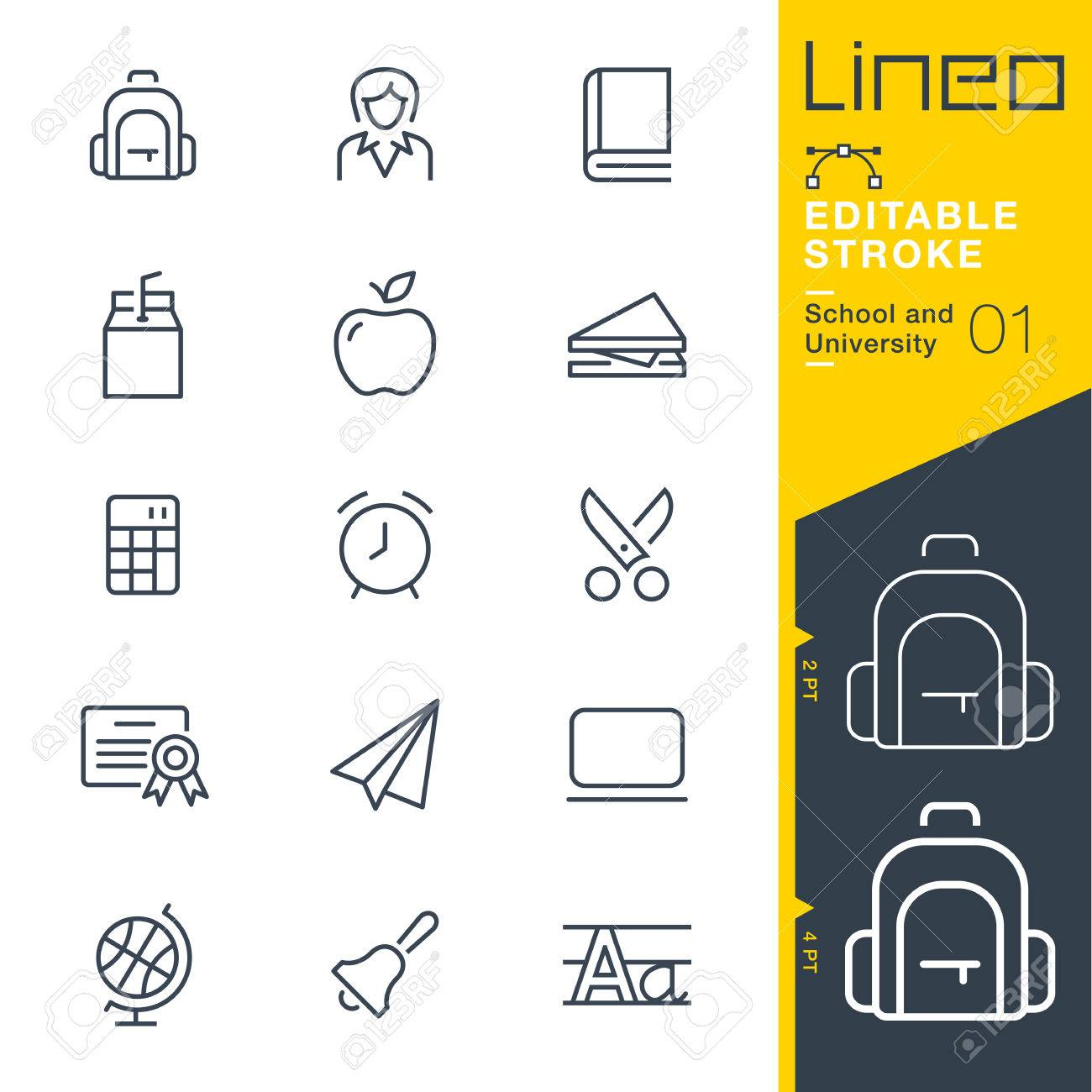 Line Editable Stroke - School and University line icon Vector Icons - Adjust stroke weight - Change to any color. - 85349453