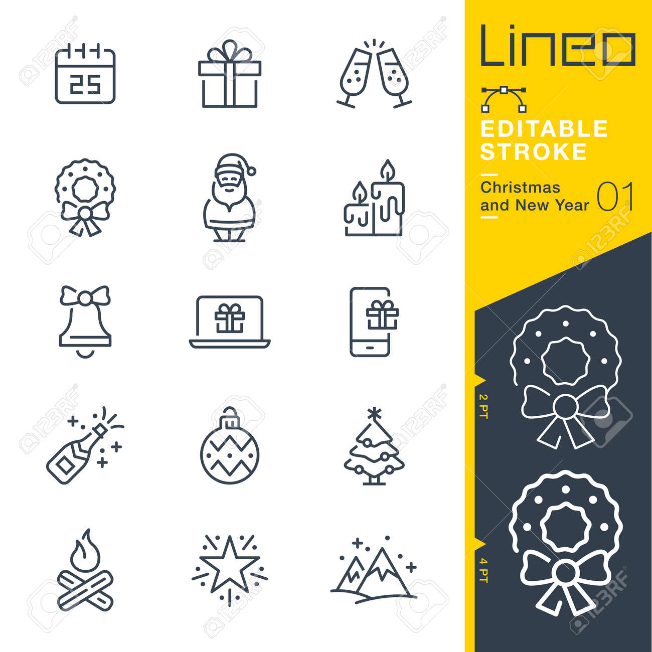 Lineo Editable Stroke - Christmas and New Year line icon Vector Icons - Adjust stroke weight - Change to any color - 87431923
