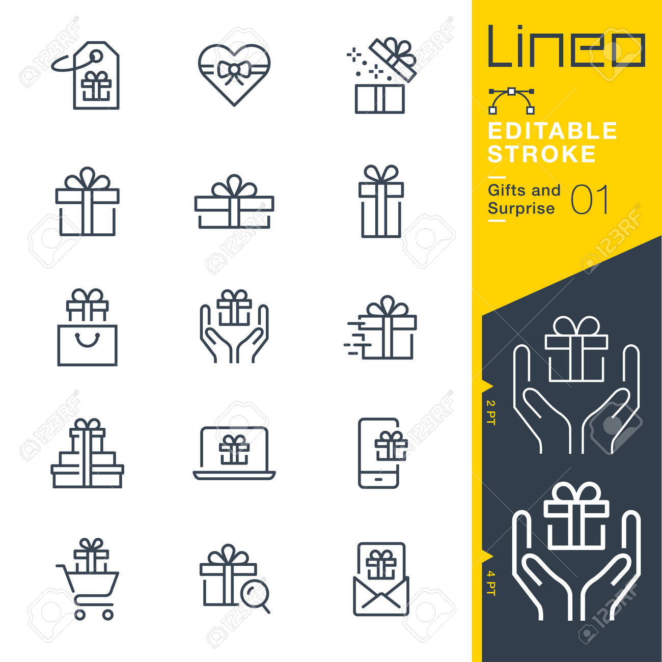 Lineo Editable Stroke. Gifts and surprise line icon vector icons. Adjust stroke weight. Change to any color - 87729299