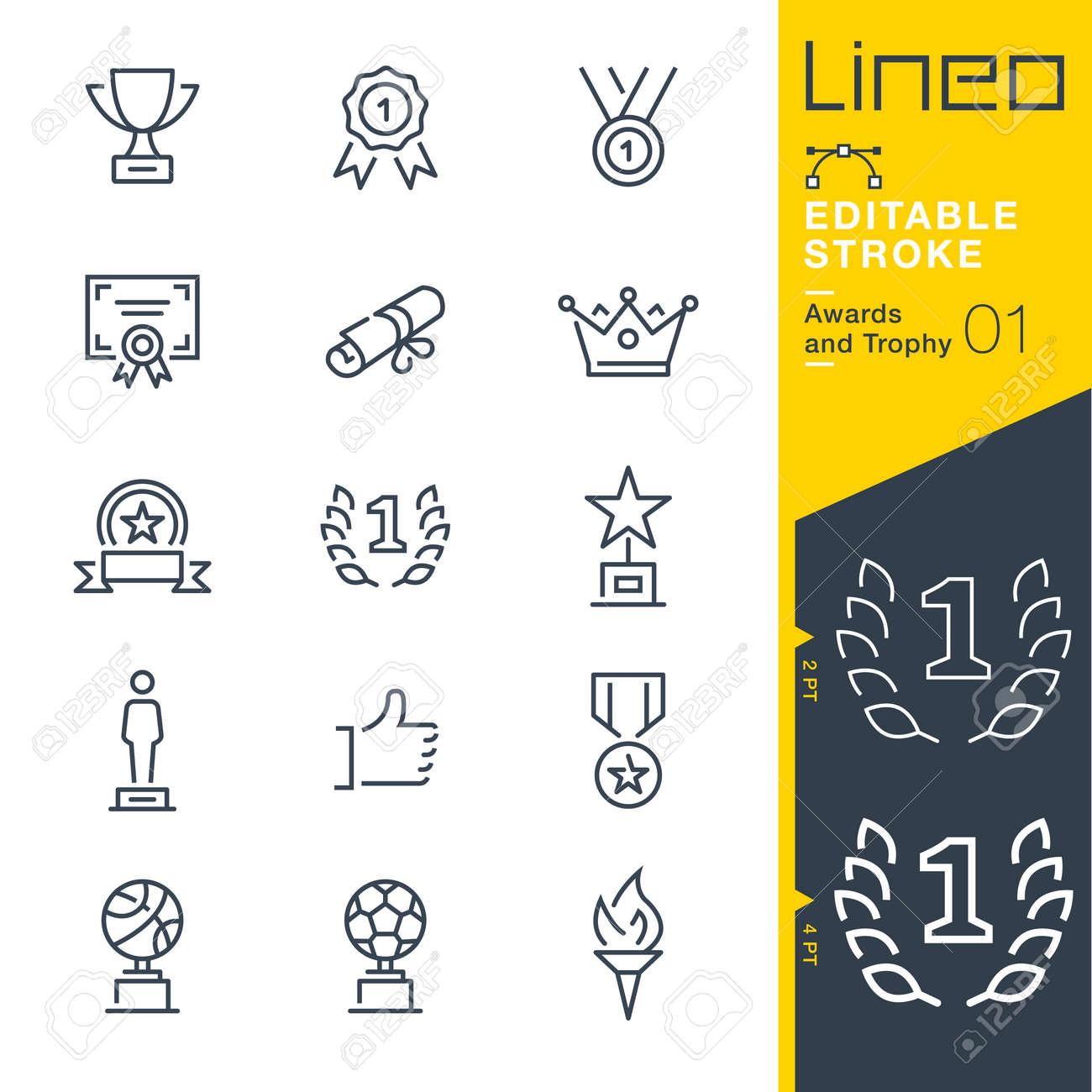 Lineo editable stroke. Icon set. - 87729302