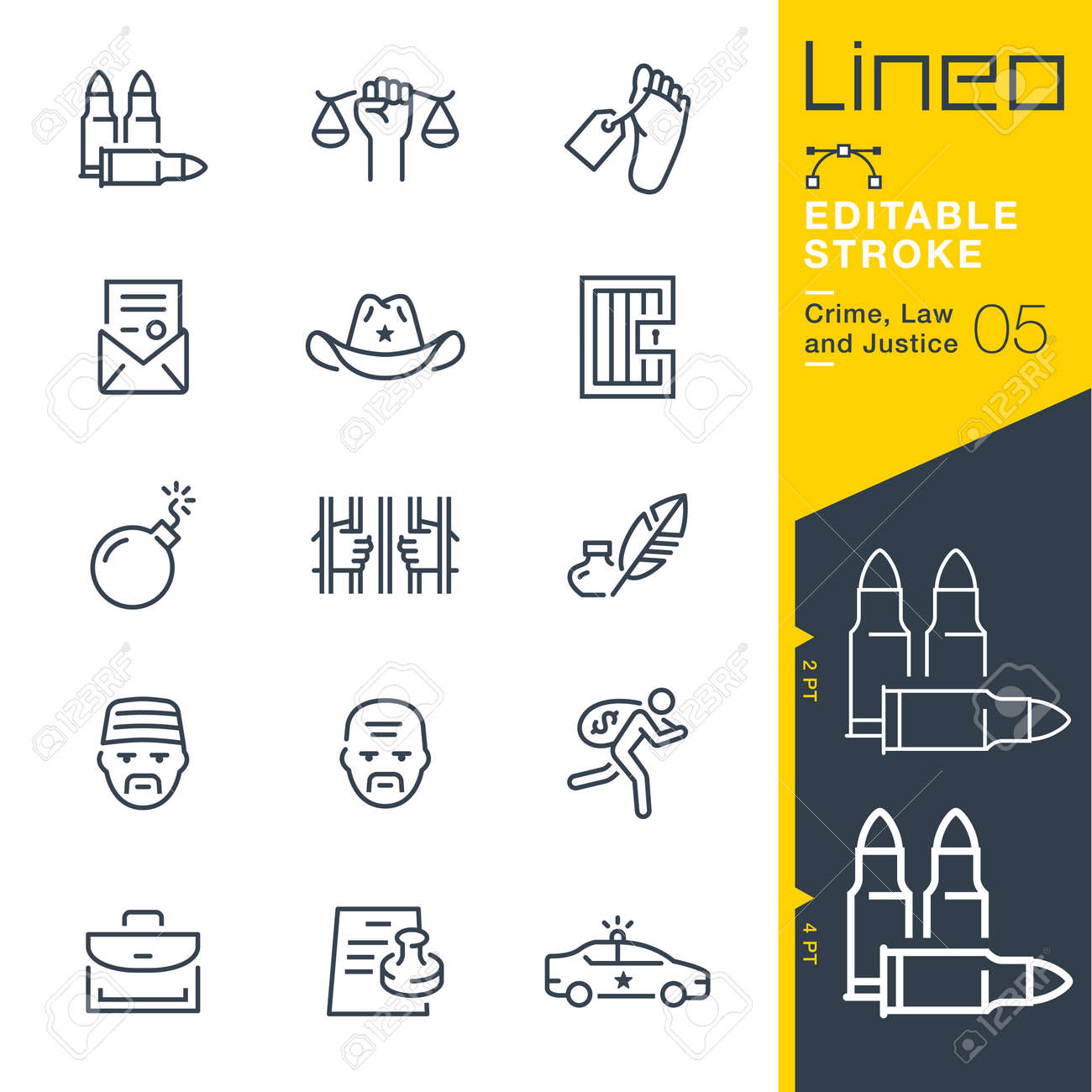 Lineo Editable Stroke - Crime, Justice and Justice line icons - 92485720