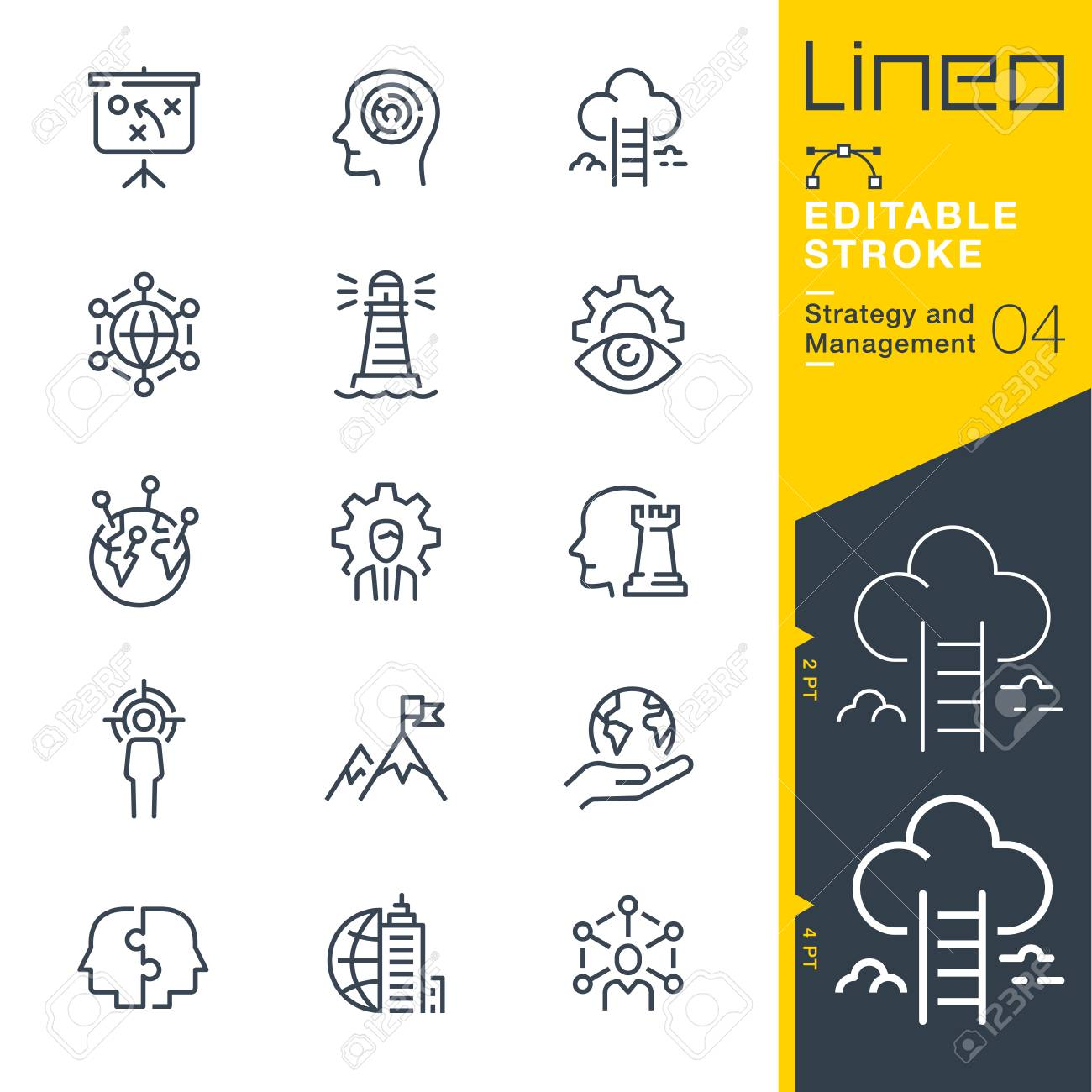 Lineo Editable Stroke Strategy and Management outline icons - 97873660