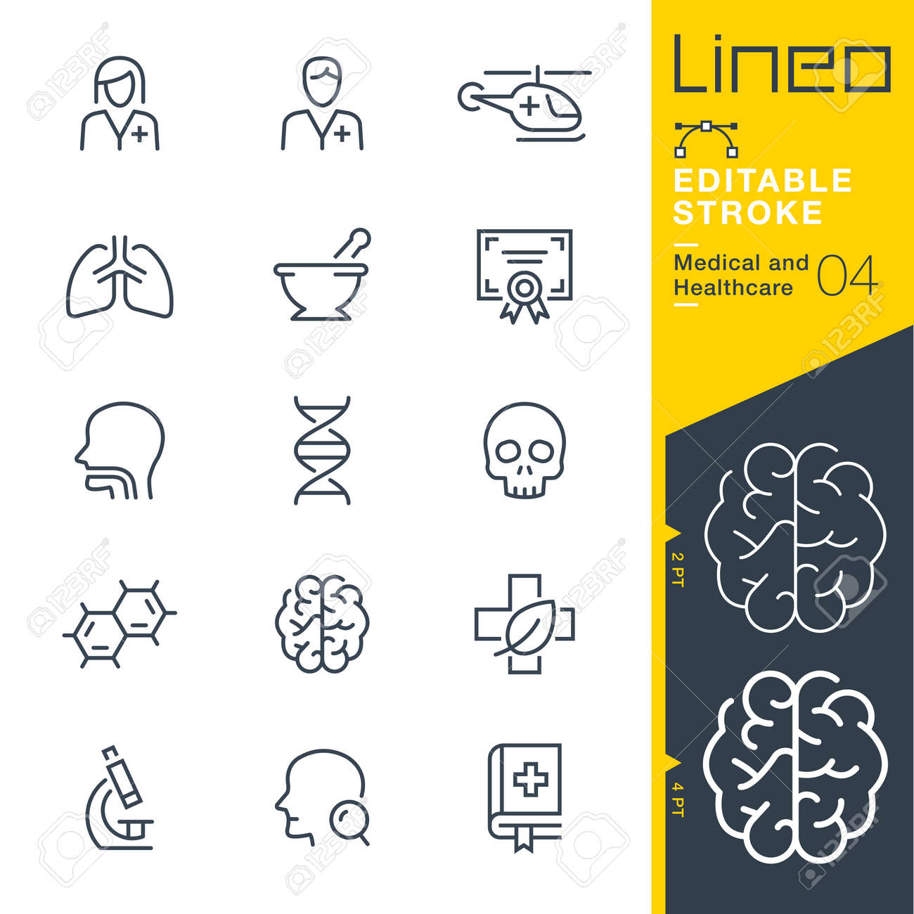 Line Editable Stroke - Medical and Healthcare Line Icons Vector illustration. - 98144311