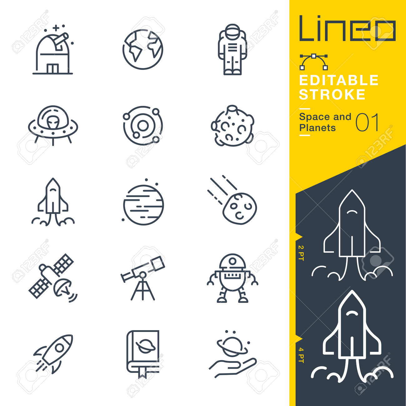 Lineo Editable Stroke - Space and Planets line icons - 102273164