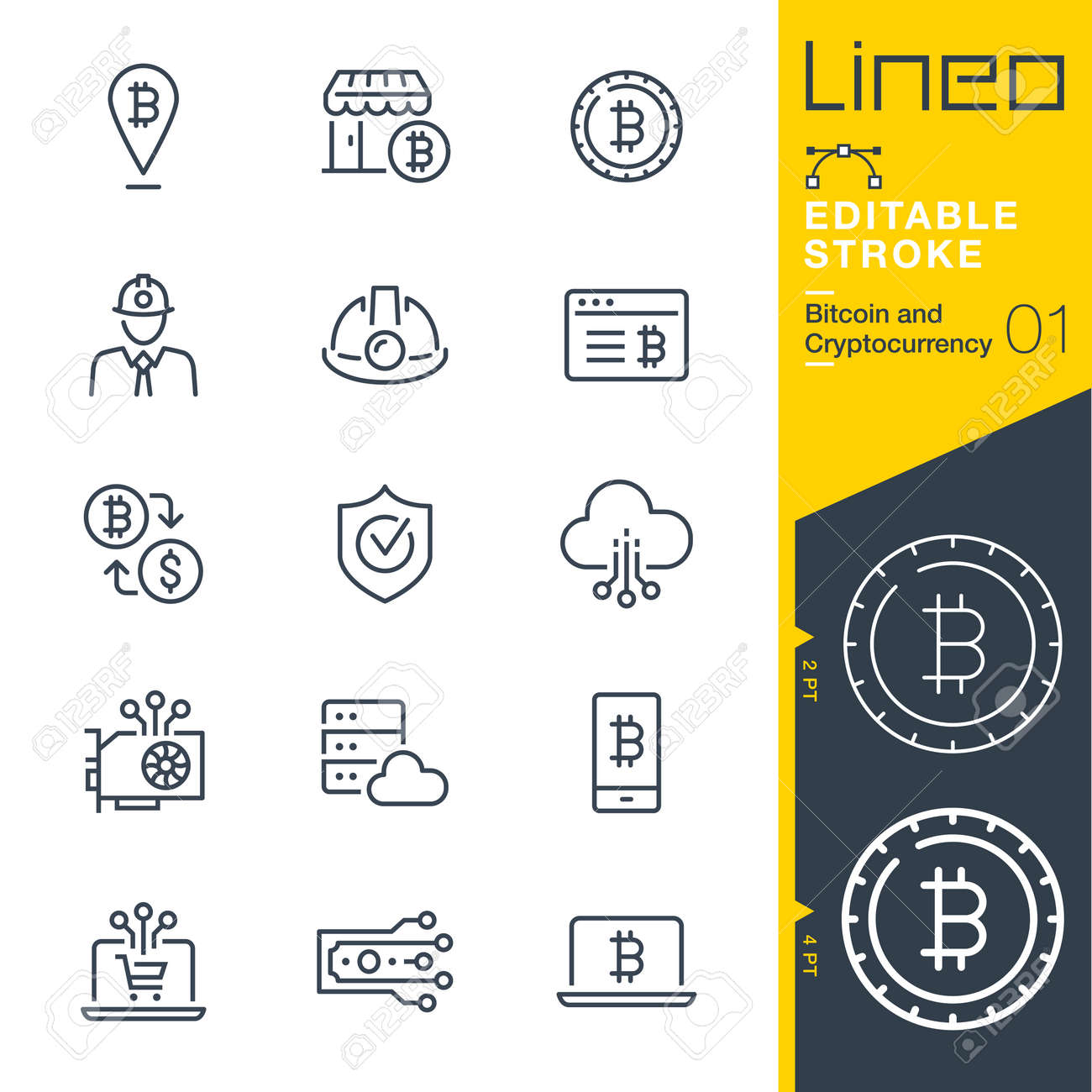 Lineo Editable Stroke - Bitcoin and Cryptocurrency line icons - 104159892