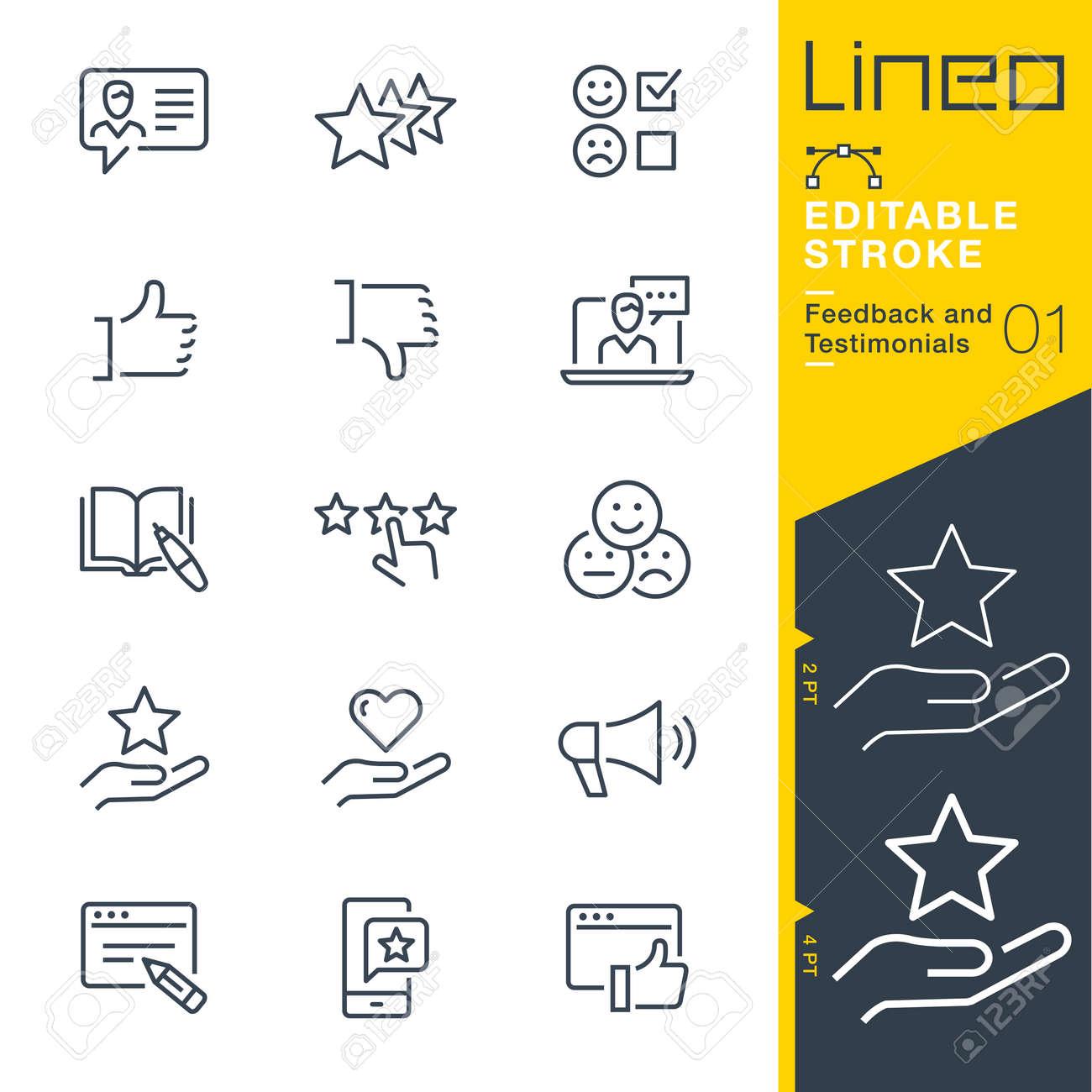 Lineo Editable Stroke - Feedback and Testimonials line icons - 104206454