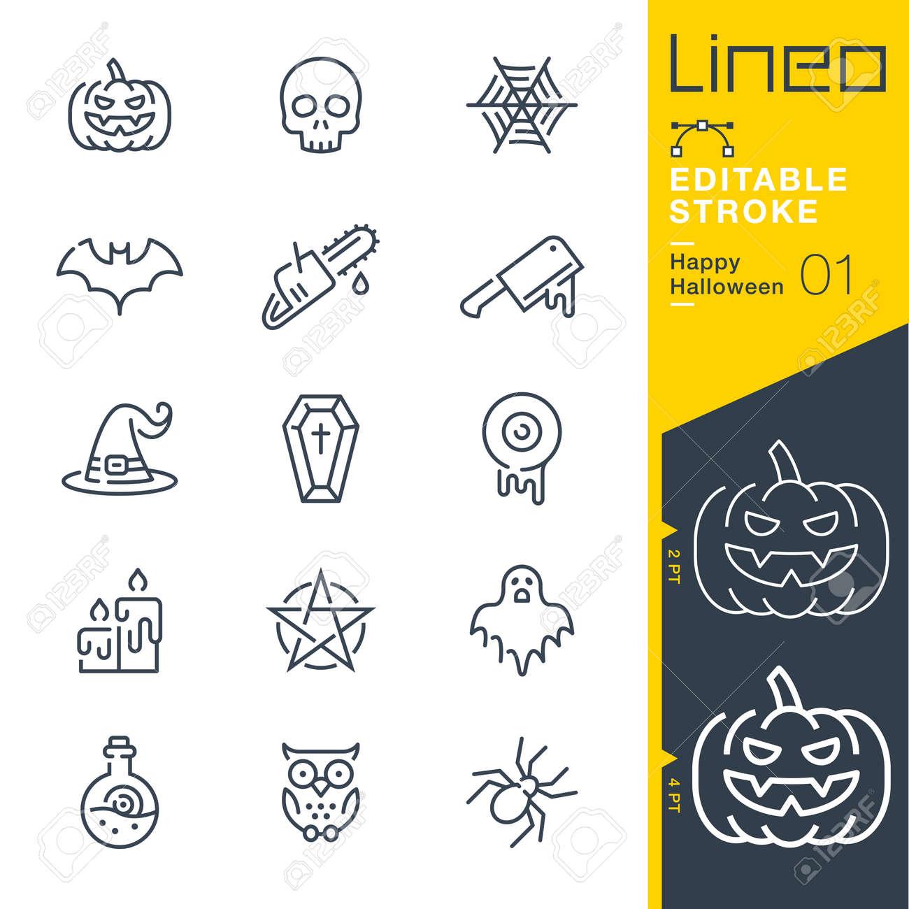 Lineo Editable Stroke - Happy Halloween line icons - 133518364