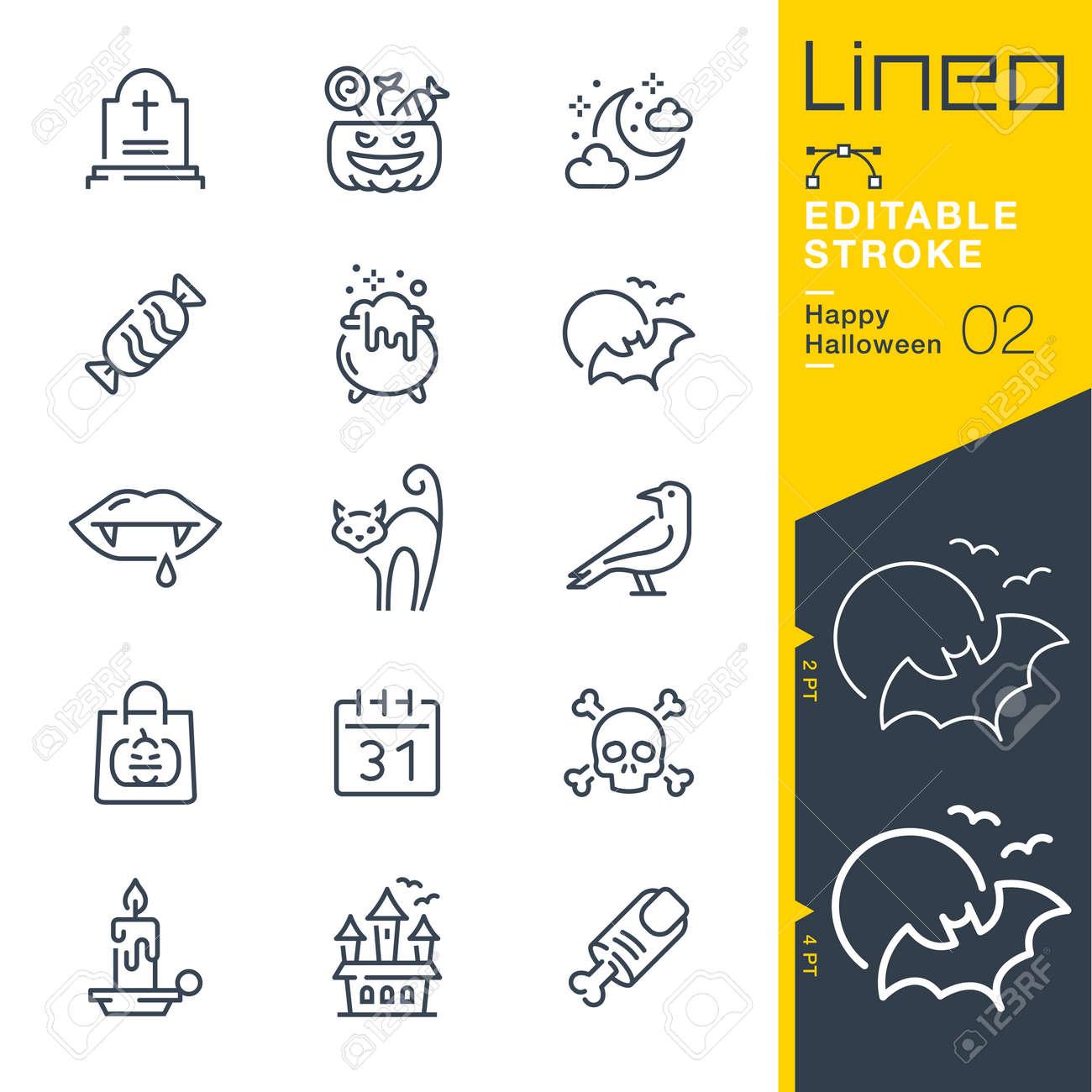 Lineo Editable Stroke - Happy Halloween line icons - 133518365
