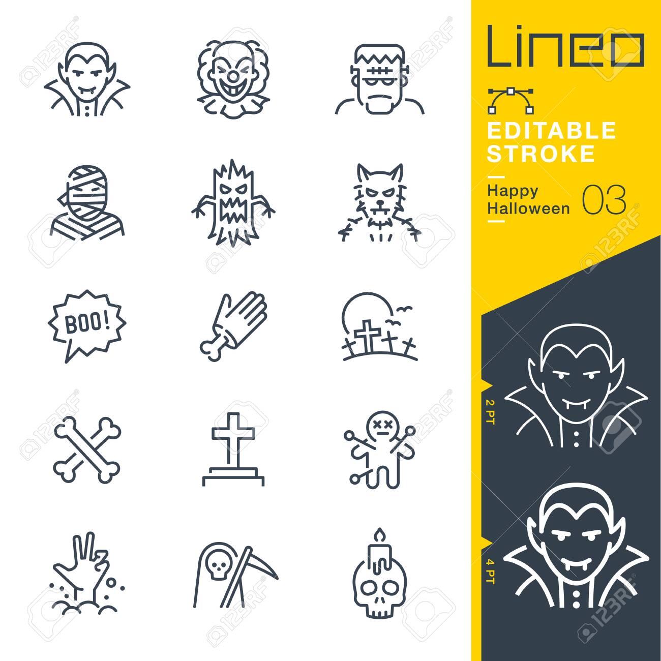 Lineo Editable Stroke - Happy Halloween line icons - 133976250