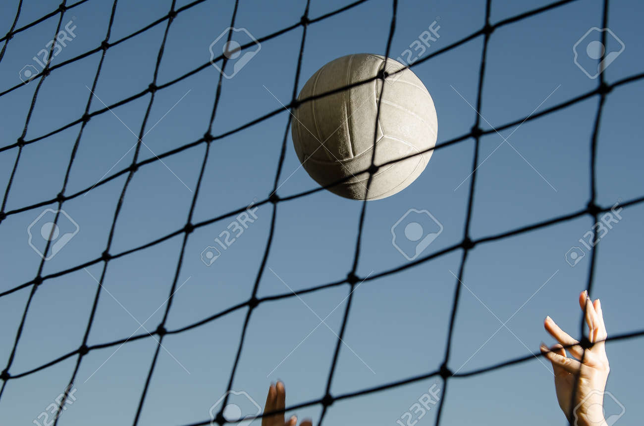 Volleyball and net with hands - 29657007