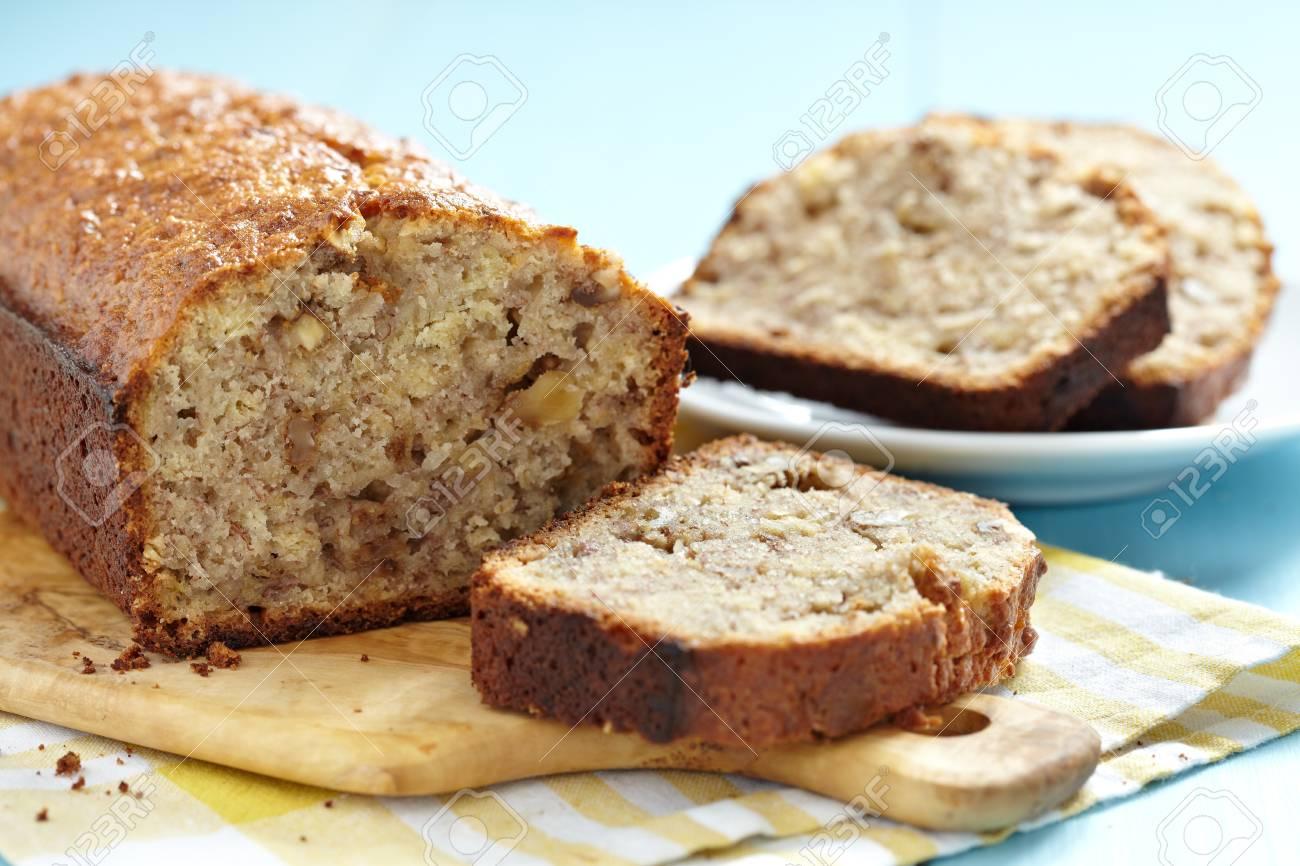 Sliced banana bread with walnuts Stock Photo - 19243243