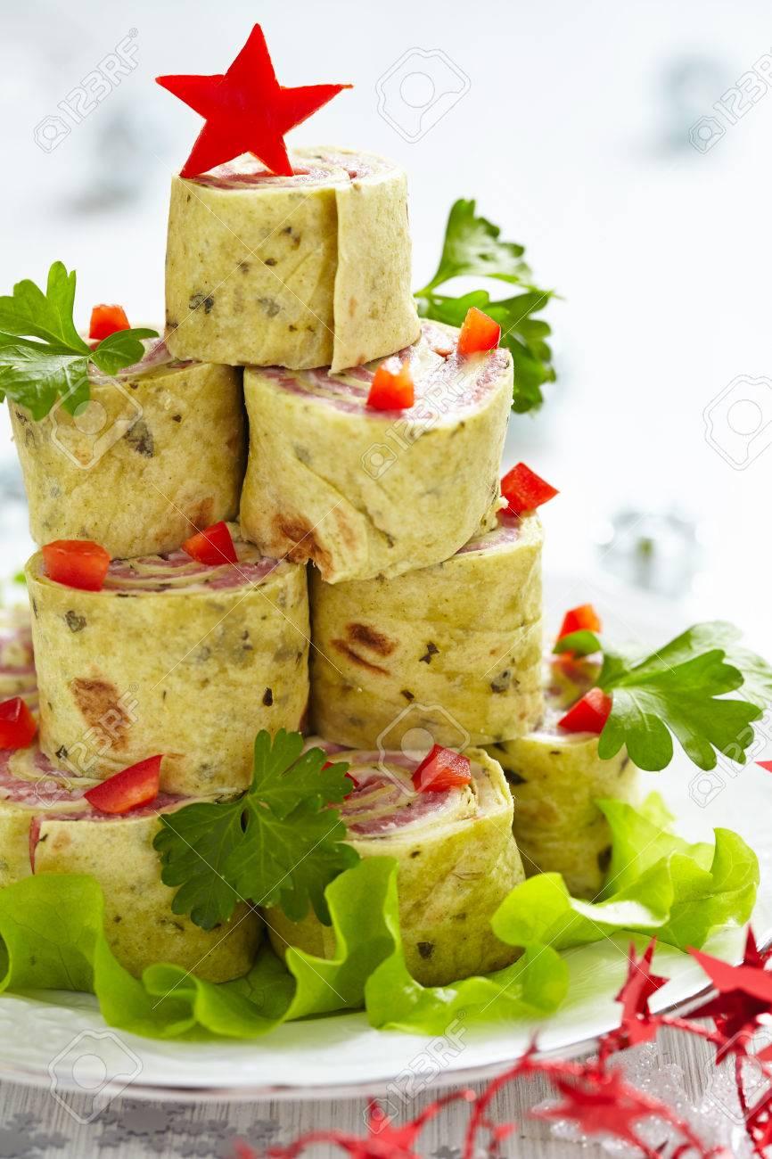 Eingewickelt Tortilla Sandwich Für Weihnachten Lizenzfreie Fotos ...