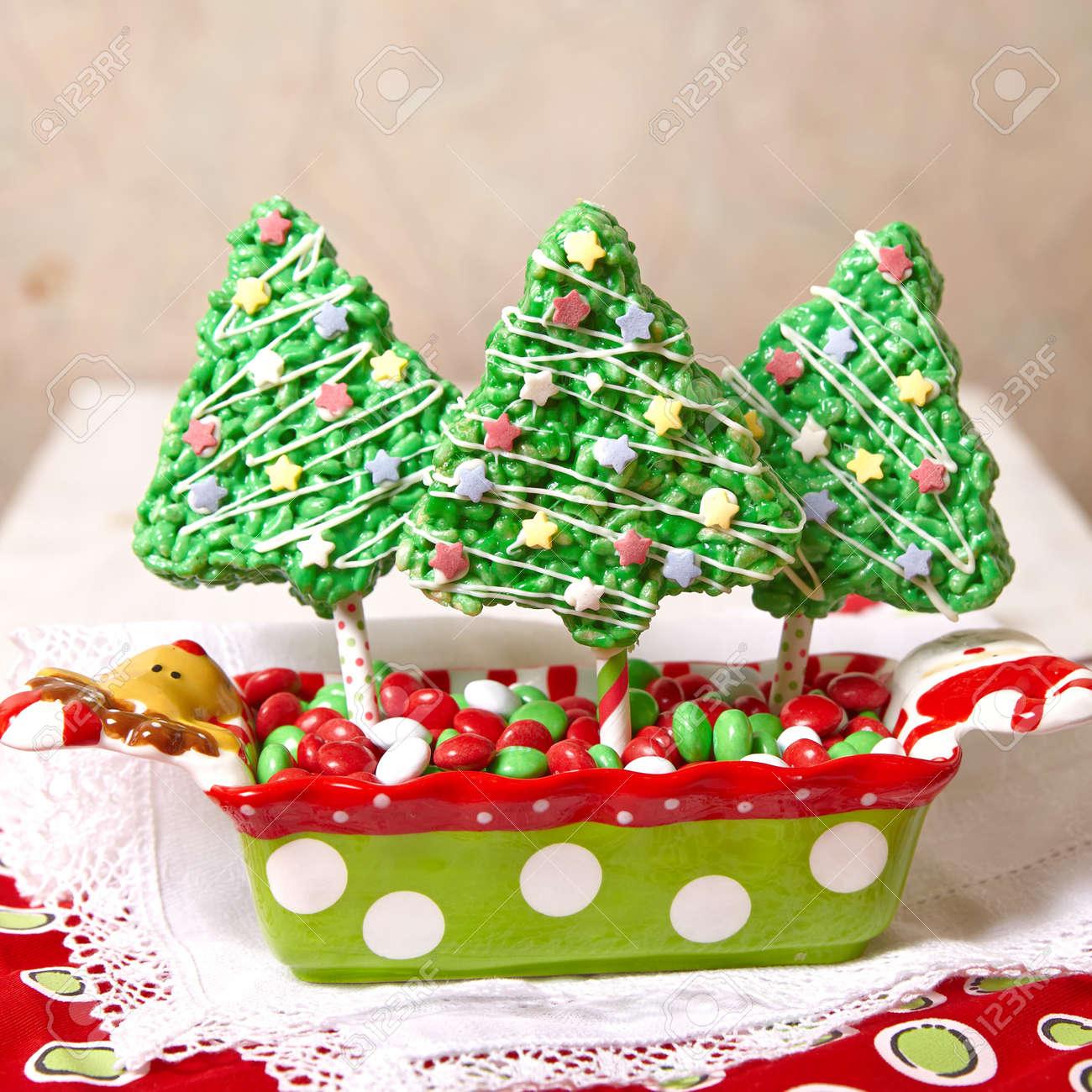 rice crispy bars decorated for a christmas stock photo 44764022 - Christmas Rice