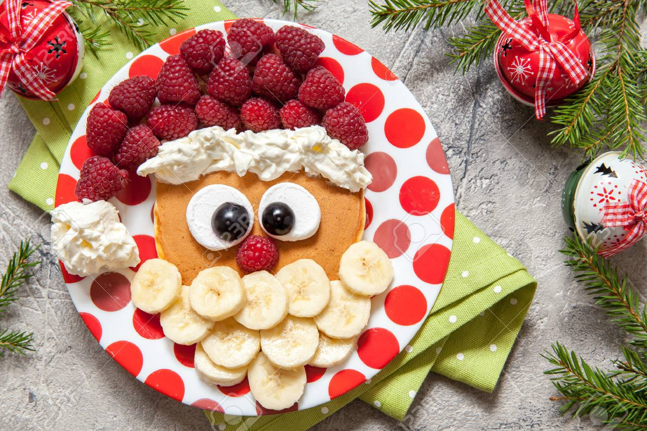Christmas Santa Pancake With Raspberry And Banana For Kid Breakfast ...
