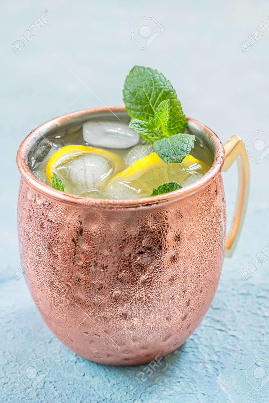 Moscow Mule Cocktail With Ginger Beer Vodka And Lemon Stock Photo Picture And Royalty Free Image Image 80130667