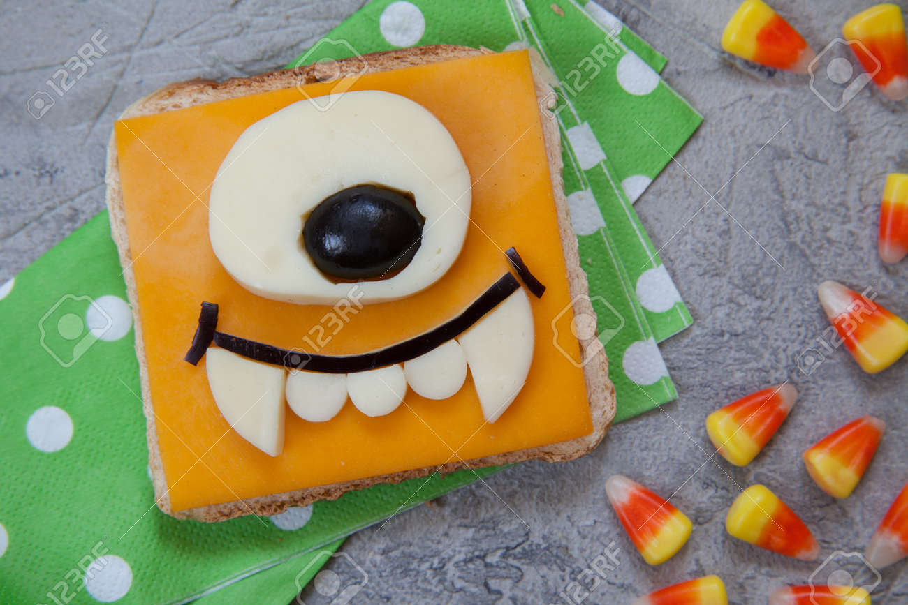 funny monster sandwich for kids lunch on a table. halloween food