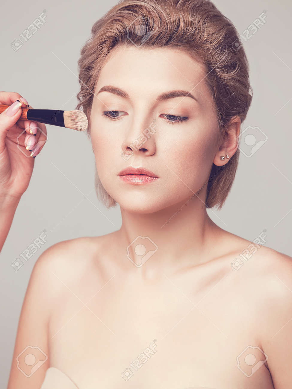 Applying Foundation On A Woman S Face Makeup Artist Training Stock Photo Picture And Royalty Free Image Image 149563588