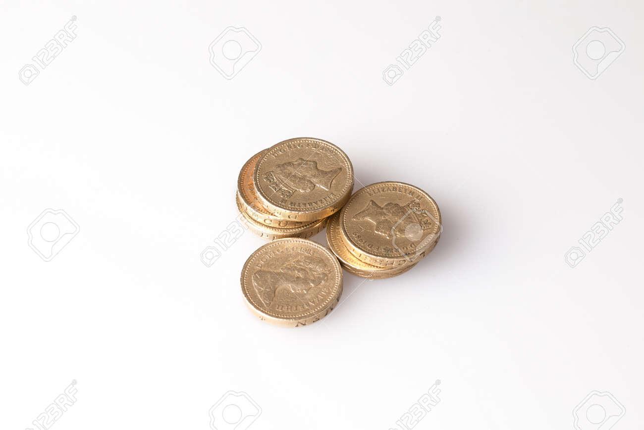 Pound coins stack shot in studio