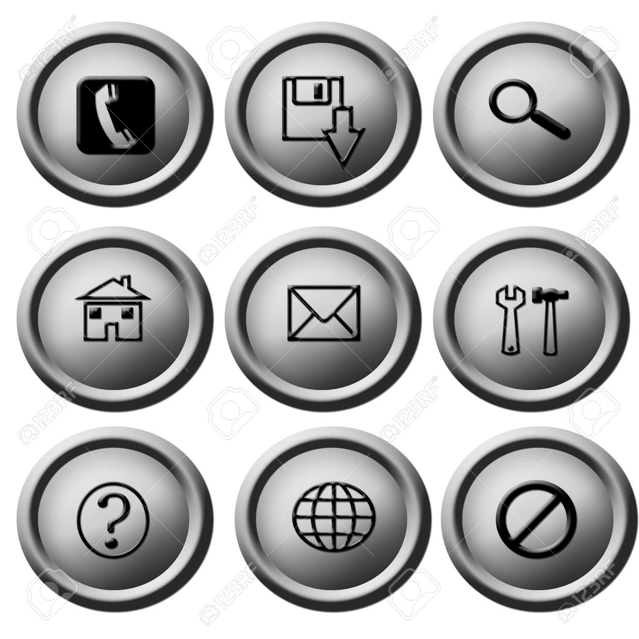 3d silver button pack Stock Photo - 19396440