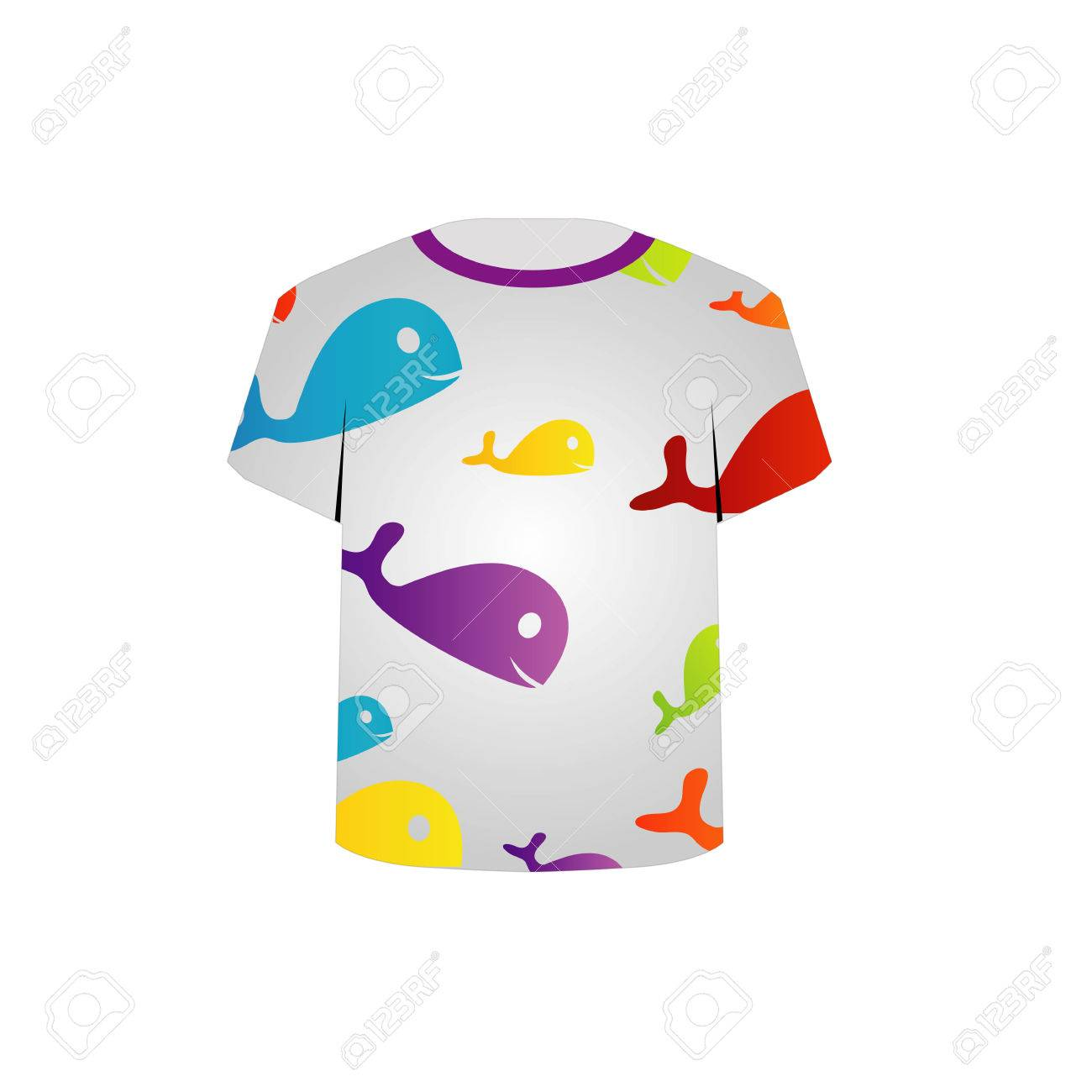T Shirt Template- Printable childrens shirt- colorful fishes Stock Vector - 22731598