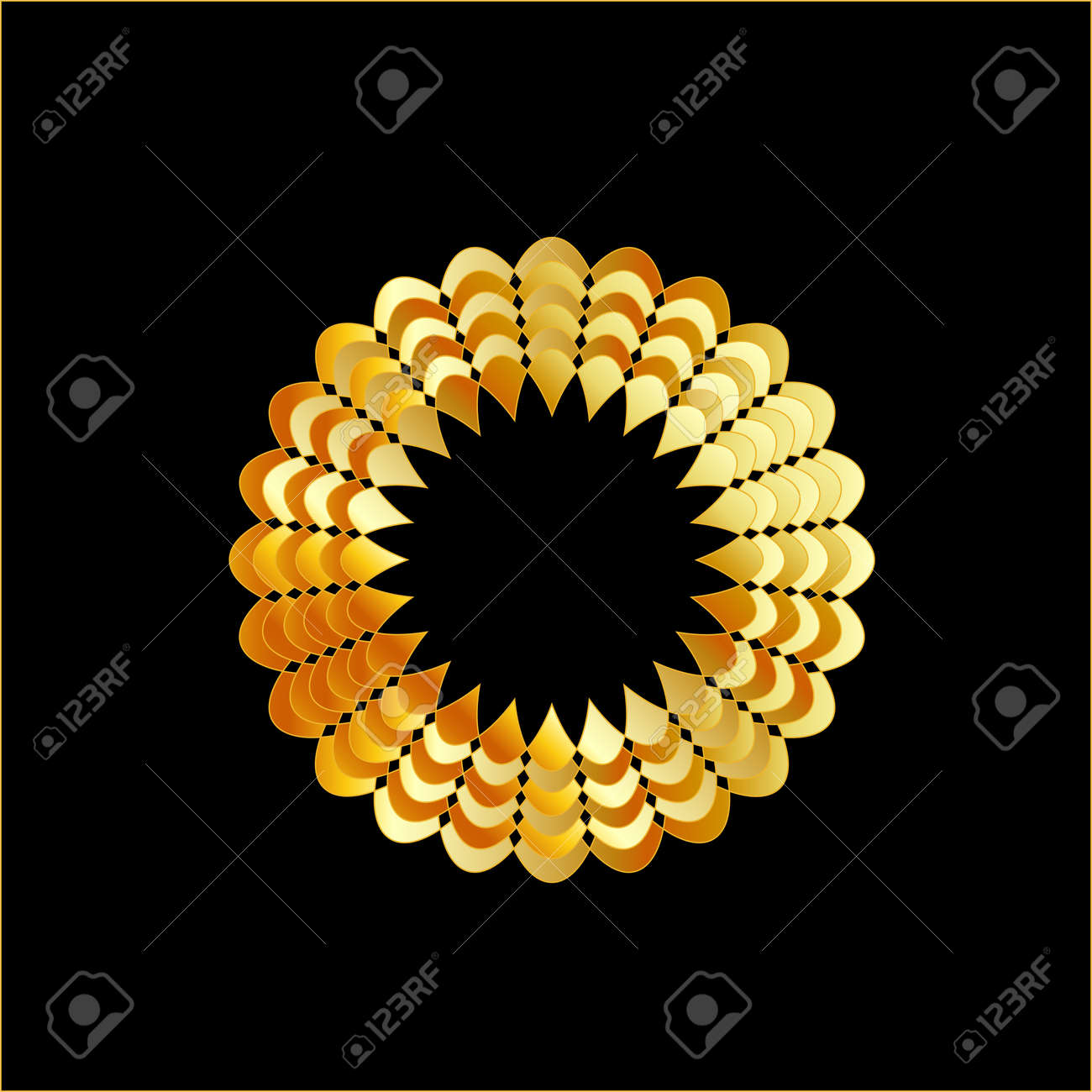 Golden flower shaped ornament Stock Vector - 23378055