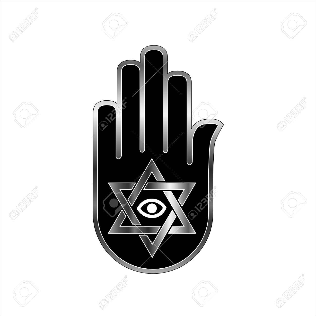 Illustration for psychic or fortune teller star of david on illustration for psychic or fortune teller star of david on ahimsa hand stock vector biocorpaavc Choice Image