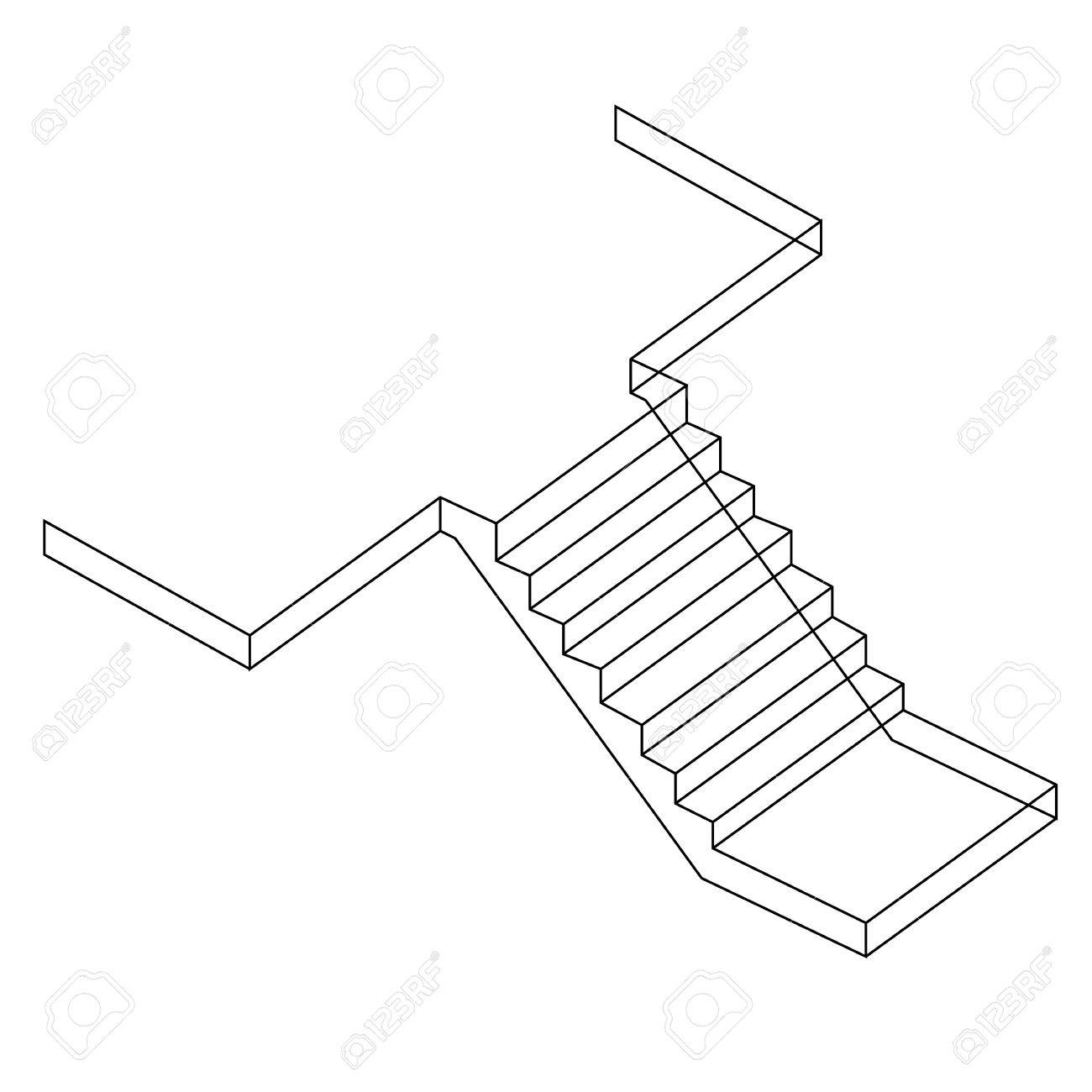 Drawing Of A Reinforced Cement Concrete Stair Stock Vector   39843872