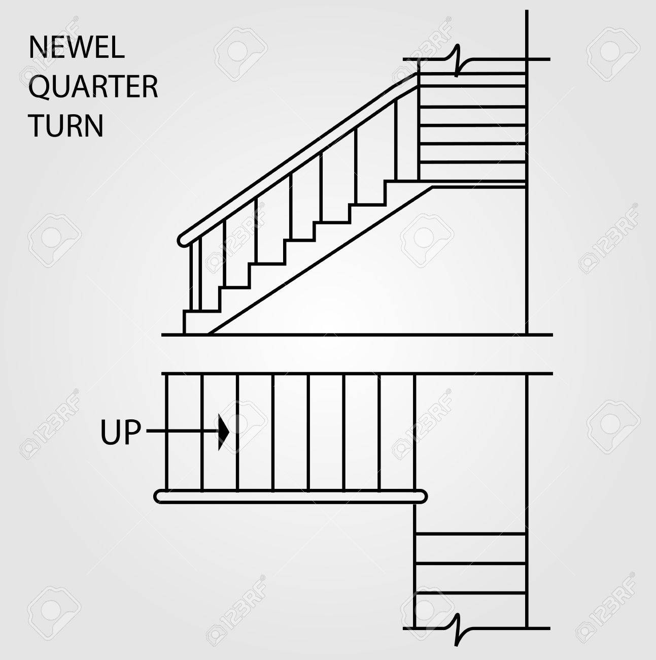 top view and front view of a newel quarter turn staircase royalty rh 123rf com