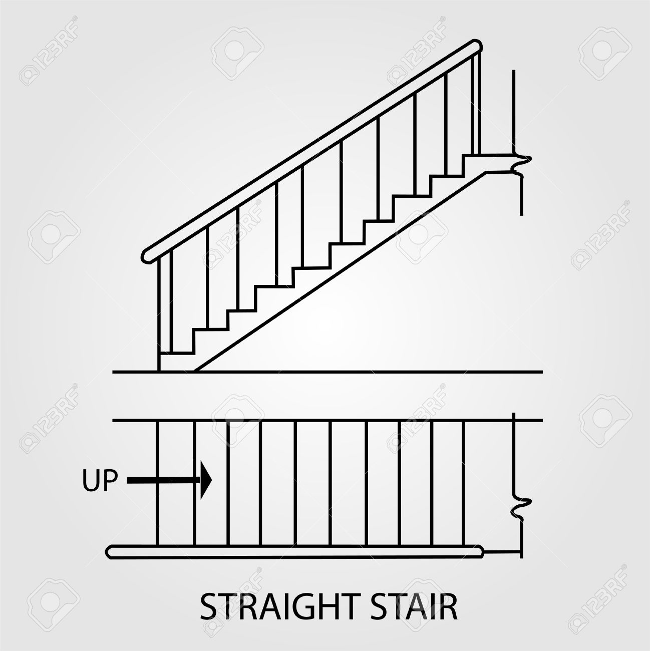 Top view and front view of a straight staircase