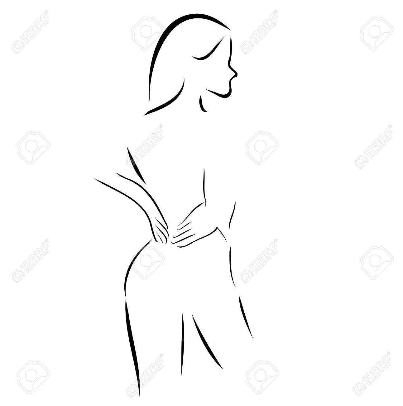 Dessin Abstrait D Une Femme A Lui Masser Le Dos Clip Art Libres De