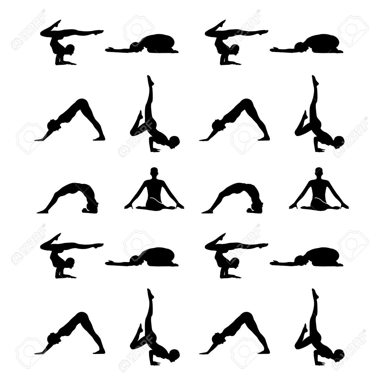 Yoga Poses Silhouette Wallpaper Royalty Free Cliparts Vectors And Stock Illustration Image 54970983