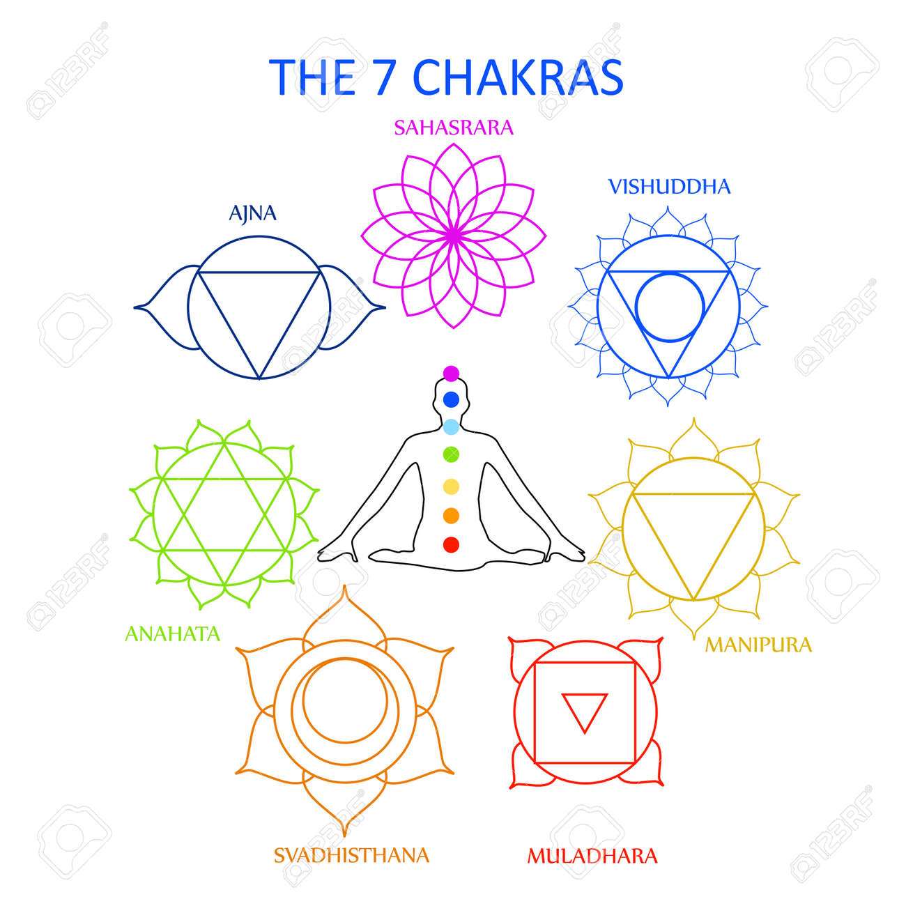 the seven chakras of the human body with their names royalty free