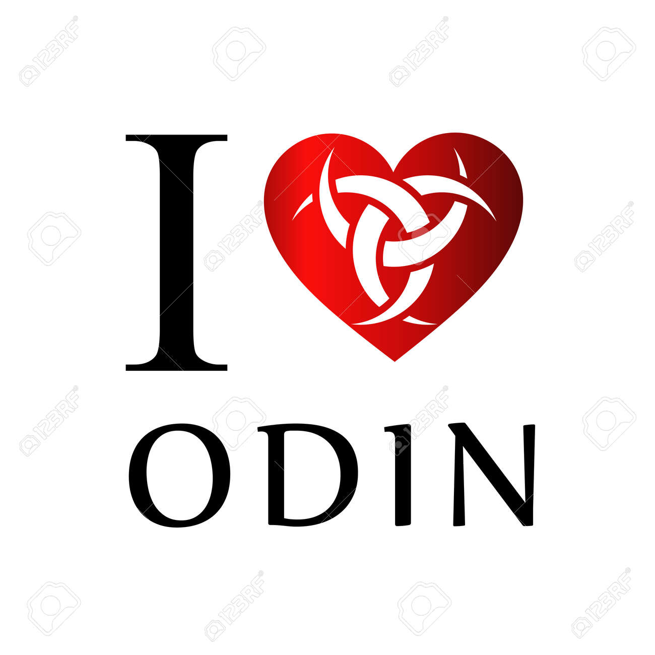 I Love Odin The Graphic Is A Symbol Of The Horns Of Odin A